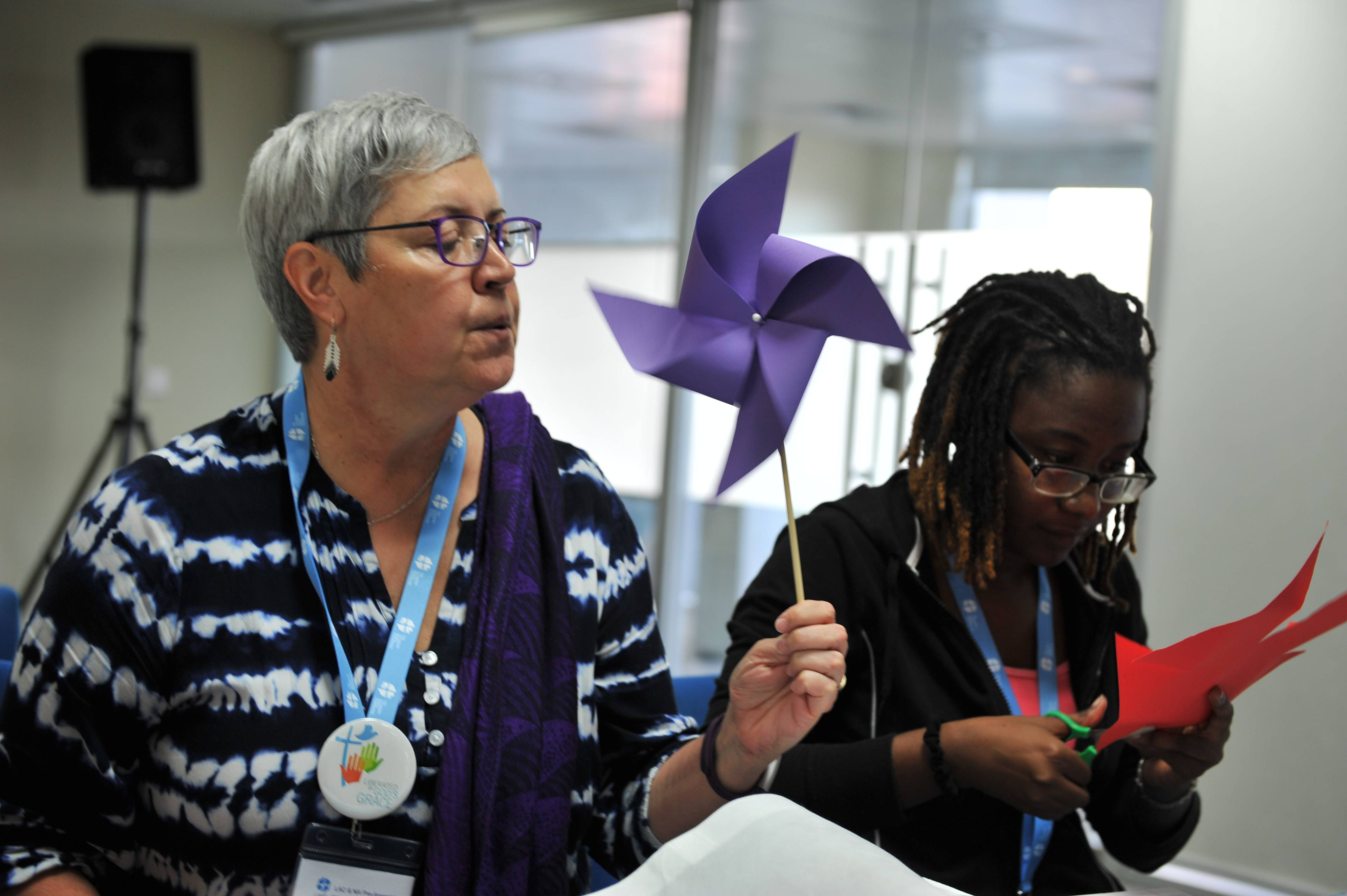 Canadian National Bishop Susan C. Johnson and LWF Council member Danielle Dokman participating in a women's pre-meeting for LWF's Pre-Assemblies for Latin American & the Caribbean and North America