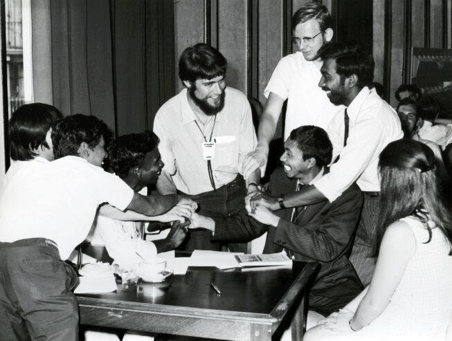 Youth delegates congratulating Christian Kempf elected first youth delegate at the LWF Executive Committee.  Photo: LWF Archives