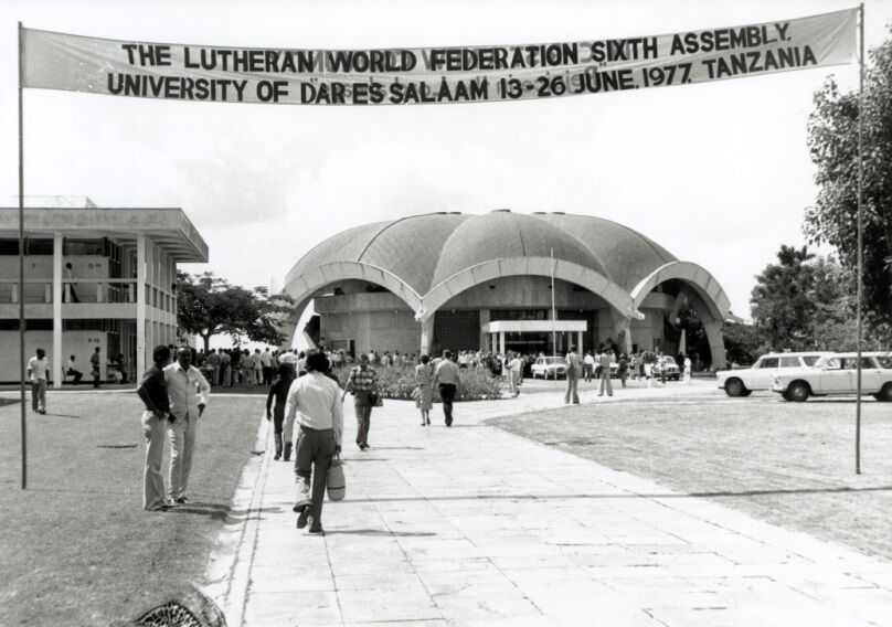 Banner over entrance to assembly venue at the Sixth Assembly in Tanzania.  Photo: LWF Archives