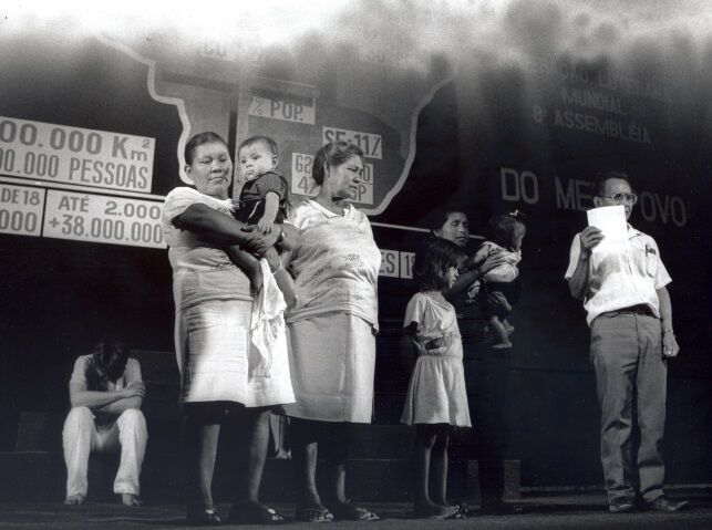 Landless people on stage during the LWF Eighth Assembly in Brazil.  Photo: LWF Archives