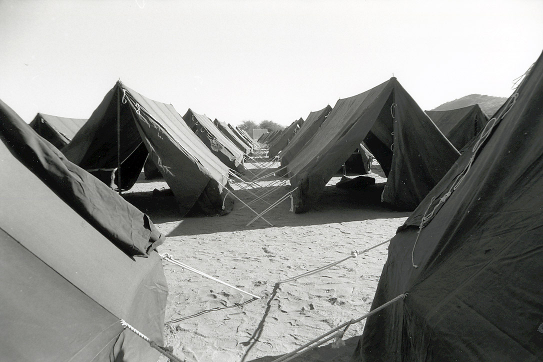 Tents erected at reception centers for returnees.