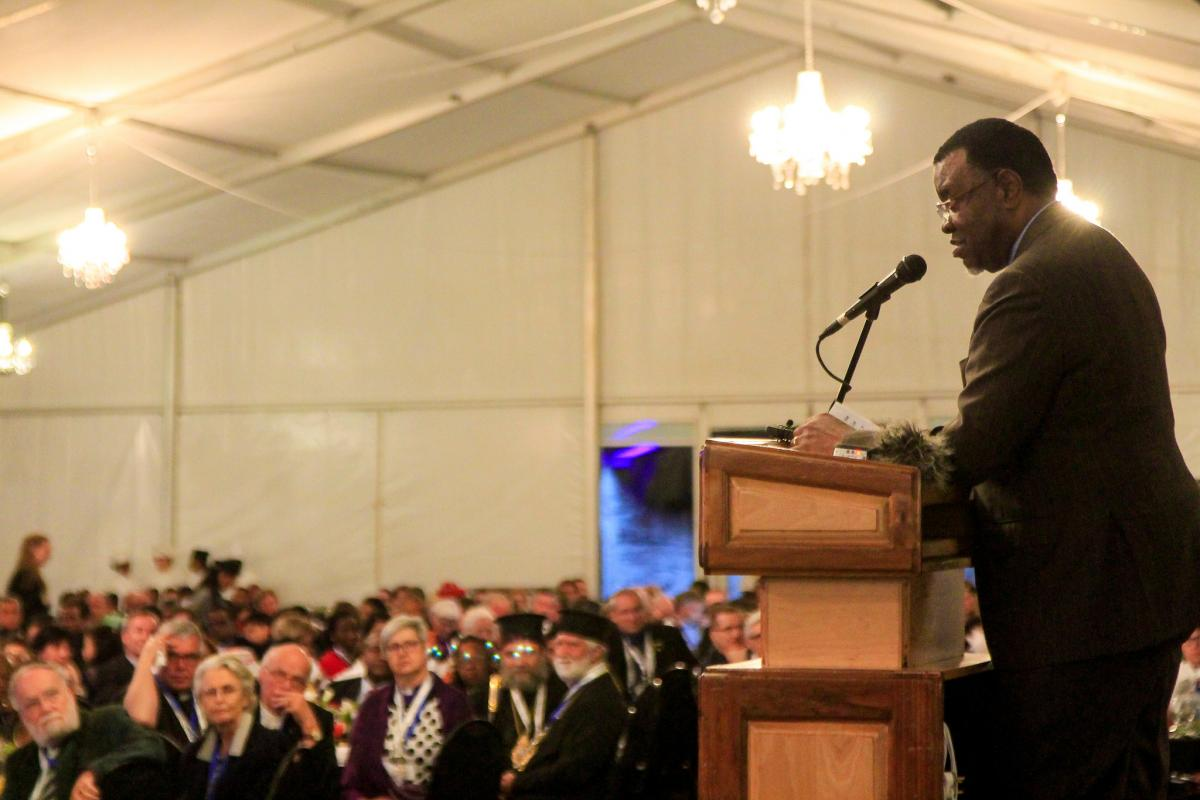 President of Namibia Hage Geingob addressing participants of Twelfth LWF Assembly at the Welcome reception. Photo: LWF/Johanan Celine Valeriano