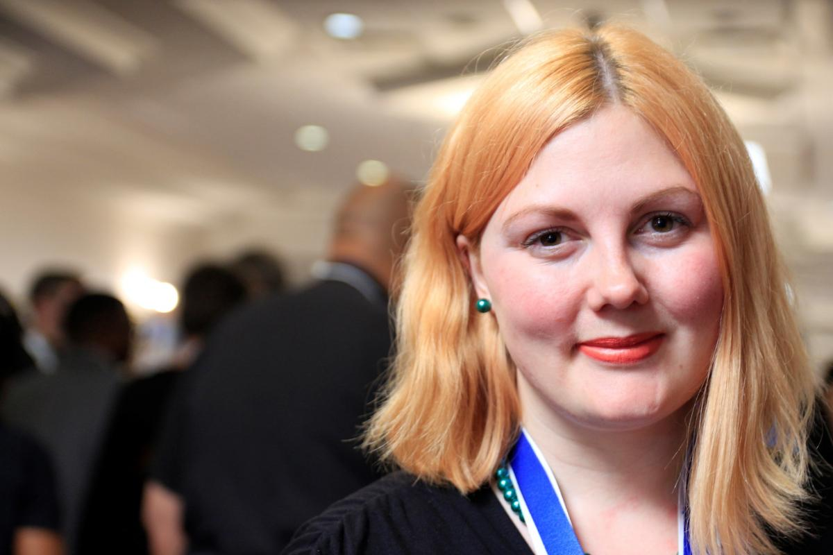 Sofia Strinnholm, a youth delegate from the Church of Sweden attending her first LWF Assembly. Photo: LWF/Johan Ehrning