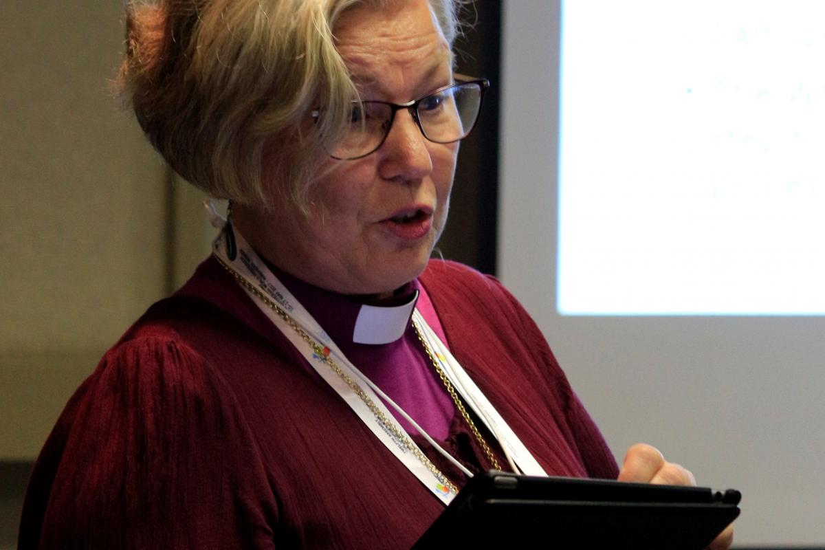 Bishop Eva Nordung-Byström, co-presenter at Omatala workshop on relations between the indigenous Sami-people and the Church of Sweden. Photo: LWF/Johan Ehrning