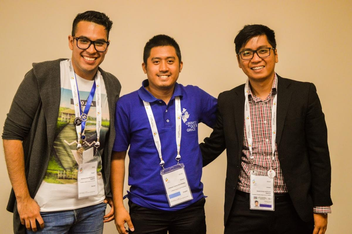 Daniel Sinaga, Johanan Celine P Valeriano and Grosvyn Ariel Rodriguez Ramfrez (From Right to left) after their presentation in LWF's Twelfth assembly. Photo: LWF/Eugenio Albricht