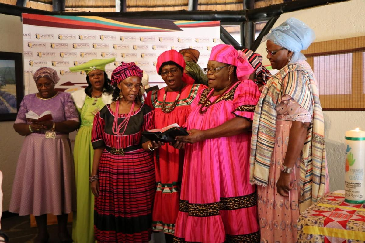 The choir of women delegates of the Evangelical Lutheran Church in the Republic of Namibia presenting a hymn during the opening worship of the Women's Pre-Assembly in Windhoek, Namibia. Photo: LWF/Brenda Platero