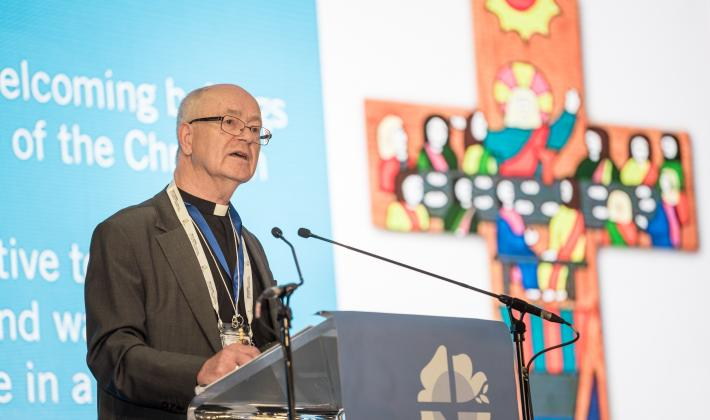 "Rev. Dr Kjell Nordstokke speaking at the thematic plenary ""Human Beings - Not for Sale"" at the Twelfth Assembly of the Lutheran World Federation. Photo: LWF/Albin Hillert"