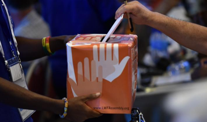 Voting at the Lutheran World Federation Twelfth Assembly. Photo: LWF/Albin Hillert