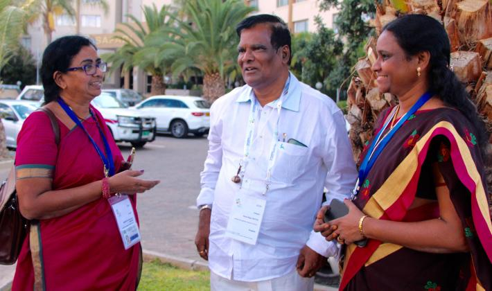 (L-R) Beulah Iris Satyavathi Sundur, Deva Raju Patta and Suneetha Manukonda from Andhra Evangelical Lutheran Church, India discussing about gender equality after the plenary. Photo: LWF/S. Lawrence