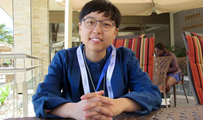 Eunhae Kwon from South Korea highlights the need to implement the Gender Justice Policy. Photo: LWF/Umesh Pokharel
