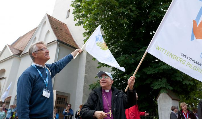 Martin Junge, LWF General Secretary, and Munib Younan, LWF president at LWF Wittenberg Pilgrimage in June 2016. Photo: LWF/Marko Schoeneberg.