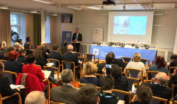 LWF General Secretary Rev. Dr Martin Junge speaks at the Europe Pre-Assembly, in Sweden. Photo: LWF/A. Daníelsson