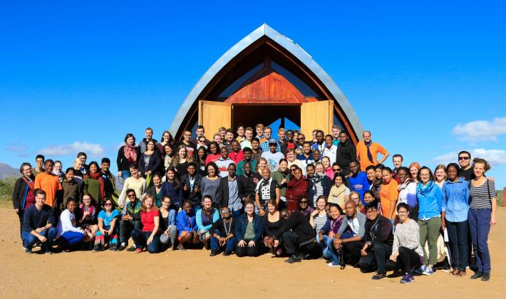 A group photo of all participants of the LWF-Youth Pre-Assembly 2017 in front of the small chapel near Heja Games Lodge, Windhoek. Photo: LWF/JC Valeriano